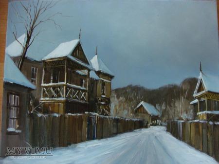 Zimowa uliczka - obraz olejny