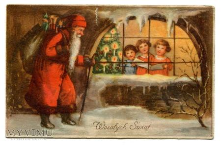 1947 Wesołych Świąt Choinka Święty Mikołaj