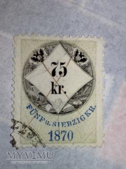 Opłata urzędowa Austro-Węgier 1870r. 75 Krajcar
