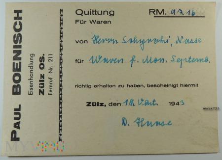 Quittung Paul Boenisch Eisenhadlung Zülz OS. 1943