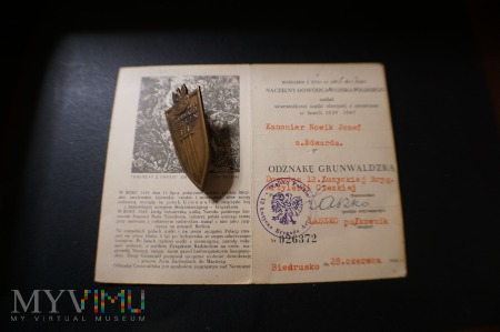 Legitymacja nadanie + odznaka OG czerwiec 1946 r.