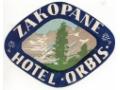 Nalepka hotelowa - Zakopane - Hotel Orbis