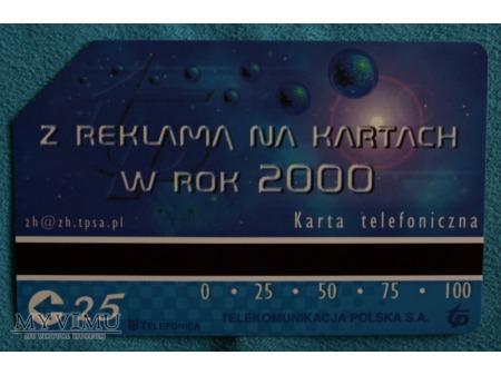 Z reklamą na kartach w rok 2000