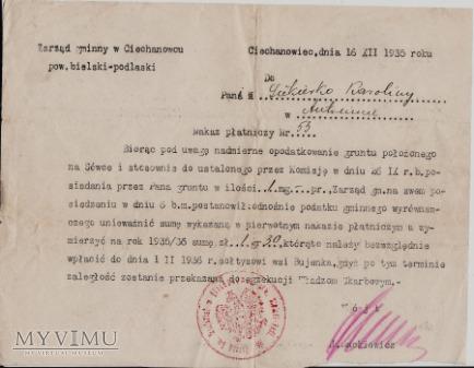 Nakaz płatniczy-Ciechanowiec 1935.