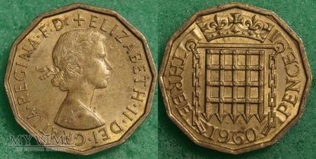 Wielka Brytania, THREE PENCE 1960