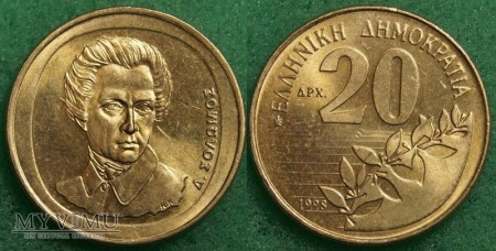 Grecja, 20 Drachm 1998