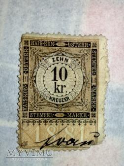 Opłata urzędowa Austro-Węgier 1881r. 10 Krajcar