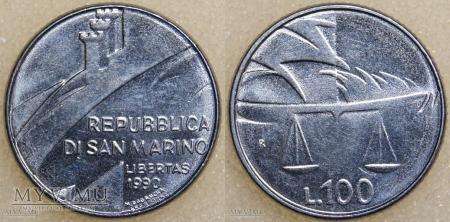 Duże zdjęcie San Marino, 100 LIRE 1990