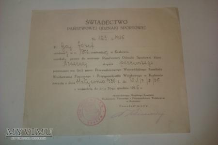 Świadectwo nadania odznaki POS 6PAP