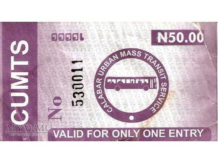 Bilet autobusowy z Nigerii.