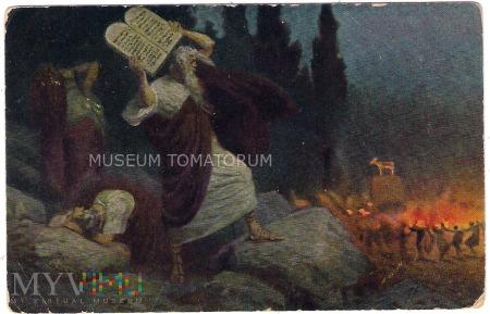 Mojżesz rozbija tablice z X przykazaniami
