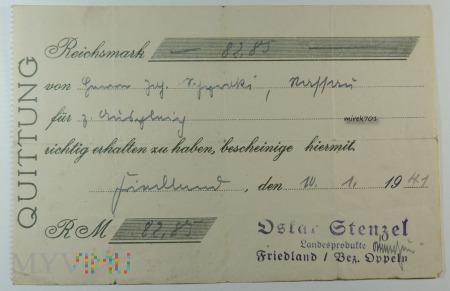 Quittung Oskar Stenzel Landesprodukte Friedland