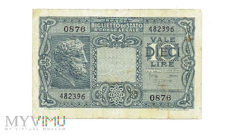 Duże zdjęcie Włochy - 10 lir, 1944r.