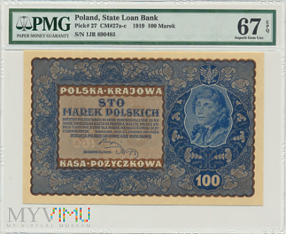 Polska - 100 marek, 1919r. PMG 67 EPQ. Max Nota