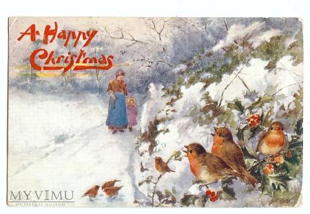 pocztówka świąteczna ptaszki zima