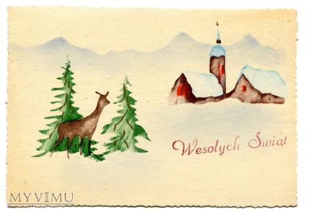 Wesołych Świąt w PRL -u pocztówka wykonana ręcznie