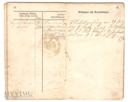 Książeczka wojskowa, połowa XIX w.