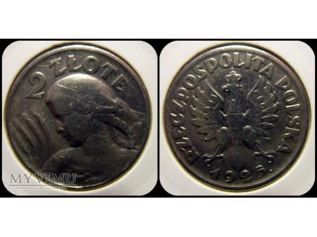 2 złote - dziewczyna i kłosy 1925