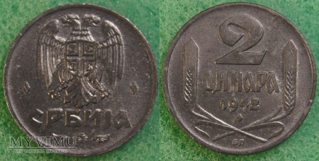 Serbia, 2 dinara 1942
