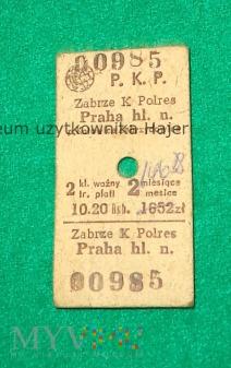 Zabrze - Praga - bilet PKP kartonik