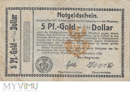 5 Pf.-Gold=1/84 Dollar Landsberg a.d Warthe