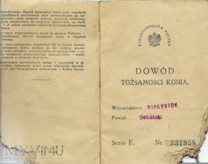 Dowód Tożs. Konia- Suchowola 1935 r.