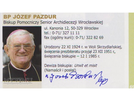 Autograf Bpa Józefa Pazdura