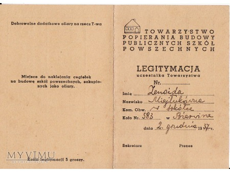 Legitymacja-Bierwicha 1937.