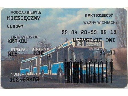 Bilet MPK Kraków 52