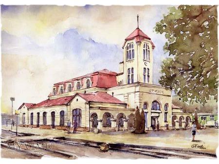 akwarela Dworzec kolejowy w Otwocku