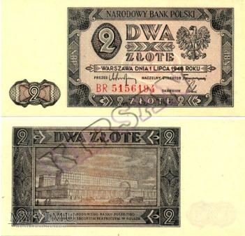 Polski banknot 2 zlote 1948 r