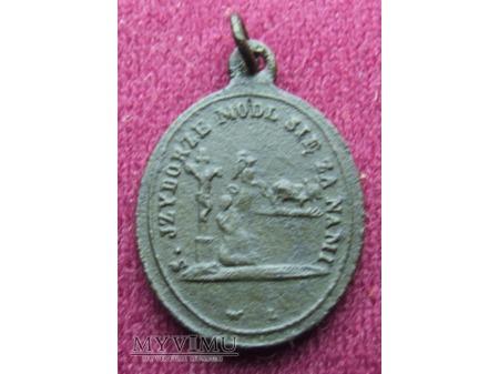 Stary medalik ze św. Izydorem Oraczem