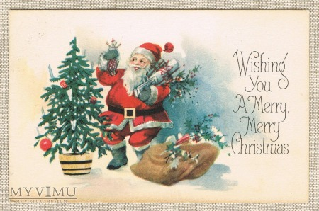 1927 Wesołych Świąt choinka mikołaj prezenty