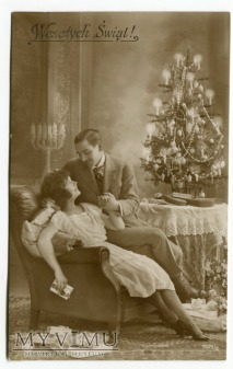 Duże zdjęcie Wesołych Świąt Razem przy choince 1926 Łuków