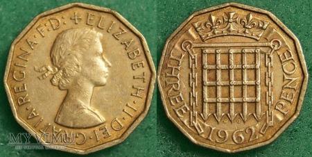 Wielka Brytania, THREE PENCE 1962