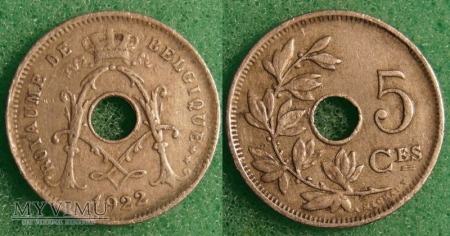 Belgia, 1922, 5 Centimes
