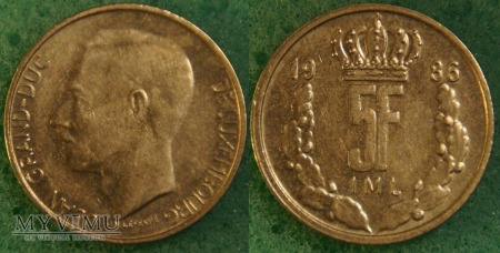 Luksemburg, 5 Franc 1986