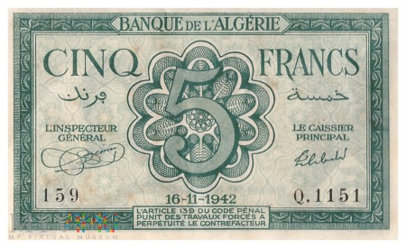 Algieria - 5 franków (1942)