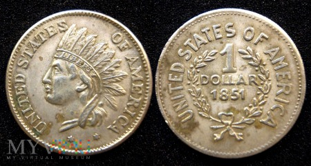 USA, 1 dolar 1851 (replika posrebrzana)