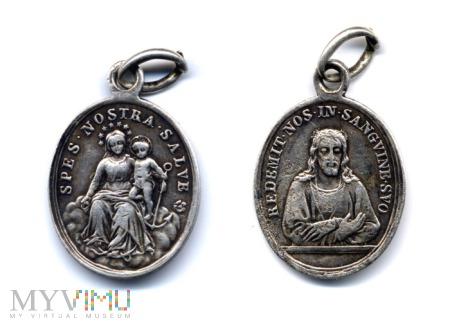 Medalik Maryja i Jezus z kotwicą