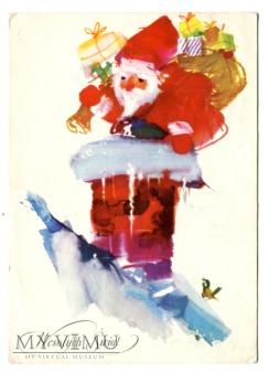 Duże zdjęcie 1962 WESOŁYCH ŚWIĄT Święty Mikołaj przez komin