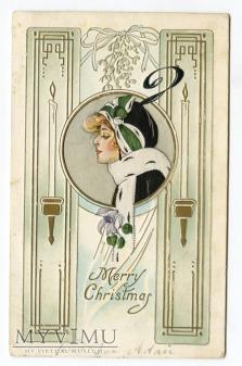 c 1910 Modna dama i Święta Boże Narodzenie USA
