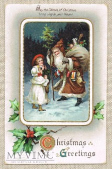 1910 Mikołaj w brązowym stroju dzieci prezenty