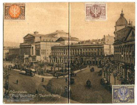 Warszawa pocztówka rozkładana Teatr Wielki 1923