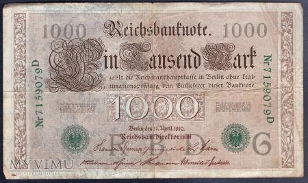 Niemcy, 1000 marek 1910r. Ser.D