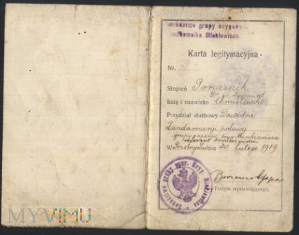 Legitymacja por. dr. pr. Zygmunt Chmielewski. 1919