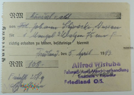 Quittung Alfred Wistuba Fahrrad ... Friedland 1943