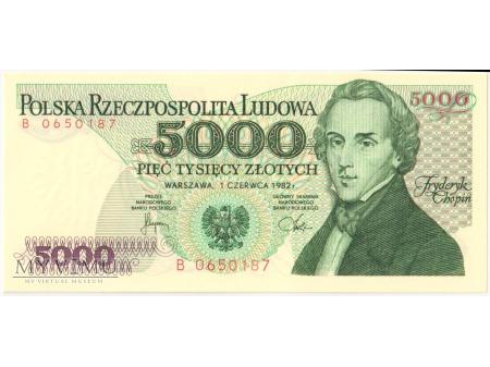 5000 złotych 1982 rok seria B
