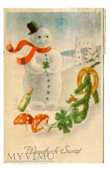 1948 Bałwanek - Muchomor - koniczyny pocztówka