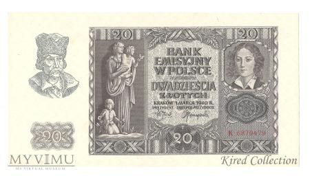 20 złotych 1940r.